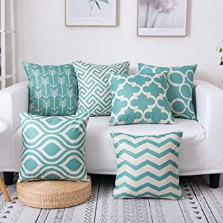 famibay Square Cotton Linen Pillow Covers Home Decorative Throw Cushion Cover Sets Geometric Patterns Pillow Cases for Sofa Bedroom Living Room 18 X 18'' Pack 6 Green