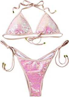 Women Shiny Triangle Bikini Tie Sides Sexy Two Pieces Swimsuits