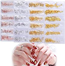(2000+PCS 4 Packs) Metal Nail Art Studs,AKWOX Shell Star Fish Conch Hollow Multiple Shapes 3D Nail Rivets Stud for Craft DIY Nails Decoration Kit Makeup (Rose Gold, Gold & Silver)