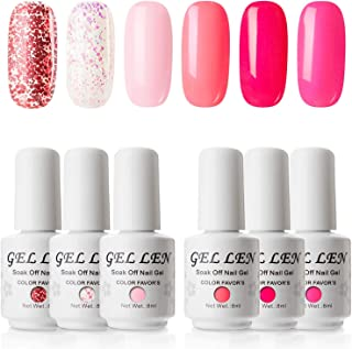 Gellen Gel Nail Polish Set - Sweet Roses Collection Bright Vivid Hot Pinks 6 Colors, Popular Pure Glitters Mixed Nail Gel Polish Colors Home Gel Manicure Kit