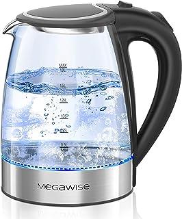 کتری برقی MEGAWISE 1500W ، کتری چای شیشه ای بوروسیلیکات 1.8 لیتری با نور LED ، خاموش کردن خودکار و کتری بدون سیم ضد جوش سریع جوش ، بدون BPA