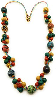 DCA Ceramic & Wood Necklace for Women - (Multicolored)