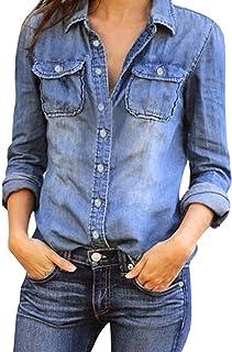 Mujeres Manga Larga Camisas Vaquero - Fashion Primavera Otoño Camisa de Jean con Botones Color Sólido Slim Blusa Boyfriend...