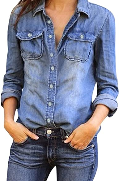 Mujeres Manga Larga Camisas Vaquero - Fashion Primavera Otoño Camisa de Jean con Botones Color Sólido Slim Blusa Boyfriend Casual Camisetas Tops ...