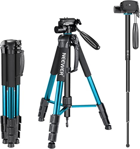 Neewer Portable 70 inches/177 Centimeters Aluminum Alloy Camera Tripod Monopod with 3-Way Swivel Pan Head,Bag for DSL...