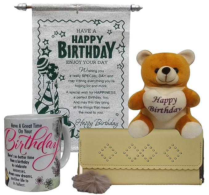 Saugat Traders Coffee Mug, Scroll Card, Womens Wallet & Soft Teddy Bear
