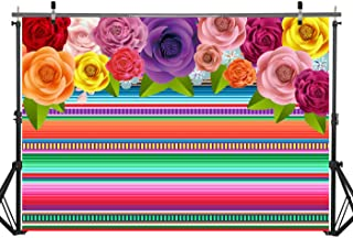 Haboke 7x5ft Durable/Soft Fabric Fiesta Party Supplies Backdrop Cinco De Mayo Colorful Stripes Background Mexican Festival Holiday Luau Decorations Photo Studio Booth Props