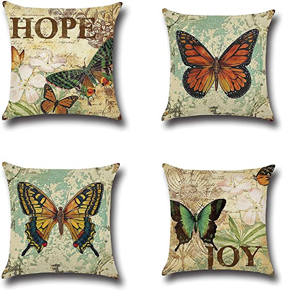 MFGNEH 4 Pack Vintage Style Home Decor Cotton Linen Butterfly Pattern Throw Pillow Covers 18x18