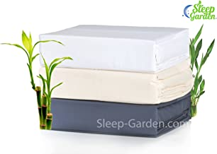 SLEEP GARDEN Bamboo Sheets | 320-Thread-Count | 4 Piece Full (Double) Size Sheet Set | 100% Bamboo | Hotel Quality | Super Soft | Eco-friendly | GMO Free | Hypoallergenic (White) q