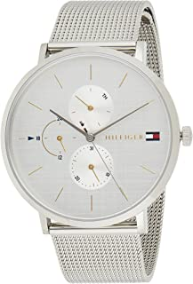 Tommy Hilfiger Womens Multi Dial Quartz Watch Jenna with Stainless Steel Mesh Band, Silver, Bracelet
