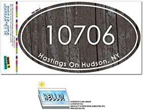 Graphics and More Zip Code 10706 Hastings On Hudson, NY Euro Oval Window Bumper Laminated Sticker - Wood Design