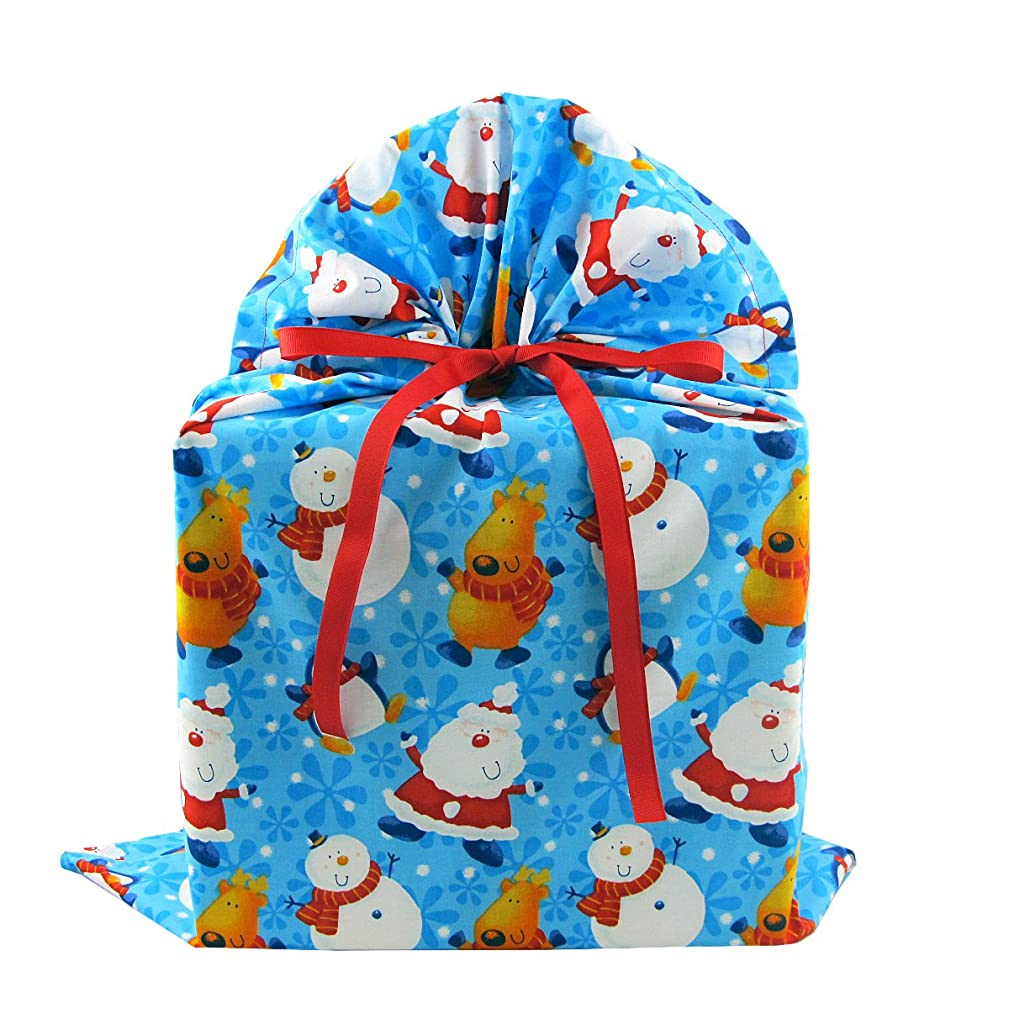 North Pole Buddies Reusable Christmas Gift Bag - Santa, Snowman, Reindeer on Blue Fabric (Large 20 Inches Wide by 27 Inches High)