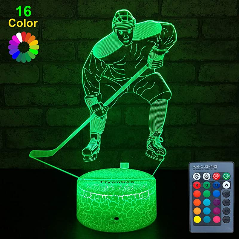 FlyonSea Kids Ice Hockey Gifts Ice Hockey Toys 16 Color Changing Kids Night Light With Touch And Remote Control Mens Ice Hockey Decor Light Birthday For Kids Boys Baby