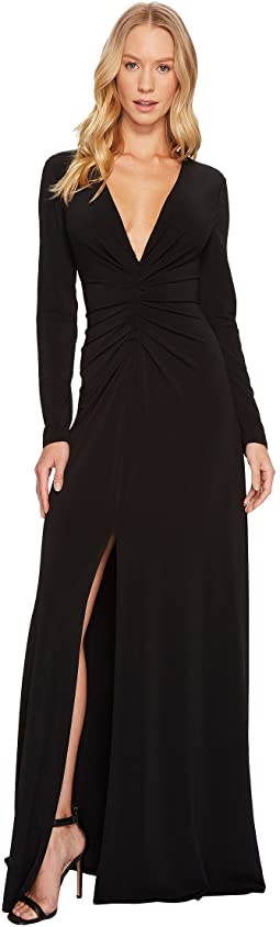 Halston Heritage Long Sleeve V-Neck Rouched Front Gown