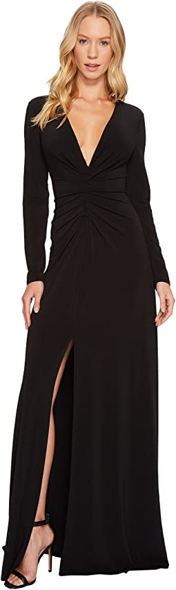 Halston Heritage - Long Sleeve V-Neck Rouched Front Gown