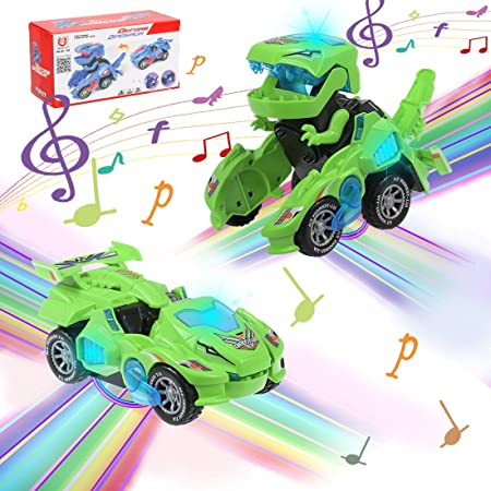 M SANMERSEN Transforming Dinosaur Toys Transforming Dinosaur Cars with LED Light Music Automatic Deformation Dino Car for 3 Year Old Kids Boys Girls Holiday Birthday Gifts Green