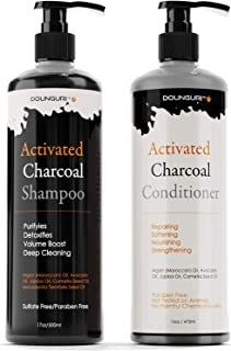 DOUNGURI Sulfate Free Activated Charcoal Shampoo and Conditioner for Clarifying, Detoxifies and Volumizing 16oz – Organic Ingredients : Argan (Moroccan), Avocado