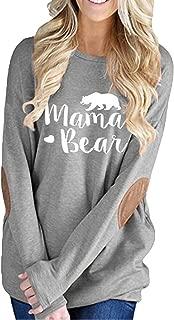 ALBIZIA Women's Long Sleeve Crew Neck Mama Bear Elbow Patch T Shirt Top