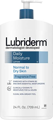 Lubriderm Daily Moisture Hydrating Unscented Body Lotion with Vitamin B5 for Normal to Dry Skin, Non-Greasy and Fragr...