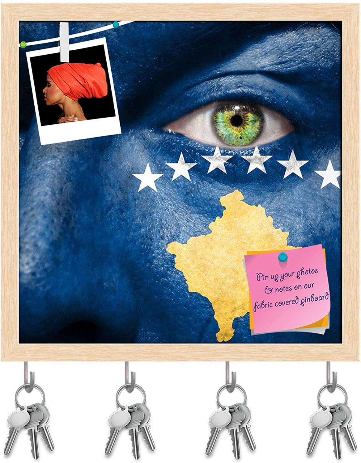 Artzfolio Kosovo Flag Painted On A Face Key Holder Hooks   Notice Pin Board   Natural Brown Frame 20 X 20Inch