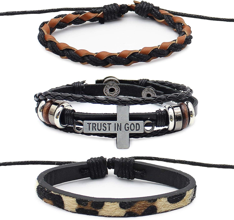 Leather Braided Bracelet Punk Goth Vintage Bracelet Handmade Adjustable Mostop Bracelet for Men /& Women