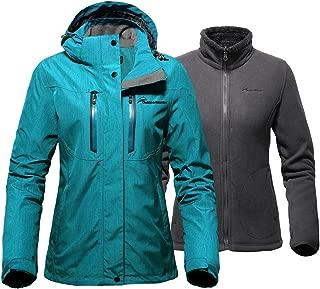 Women's 3-in-1 Ski Jacket - Winter Jacket Set with Fleece Liner Jacket & Hooded Waterproof Shell - for Women