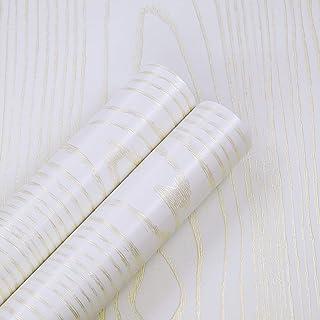 "White Wallpaper Gold Wood Grain Self-Adhesive 15.8"" x 196.85"" Decorative Faux Wood Wallpaper for Countertops Renovation Ca..."
