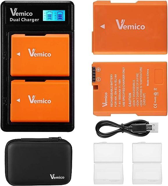 Vemico EN-EL14 - Cargador de batería para Nikon D5100 / D5300 / D5500 / D3100 / D5600 / D3200 / D3300 / D5200 / P7000 / P7100 / P7700 / P7800 (2 unidades)