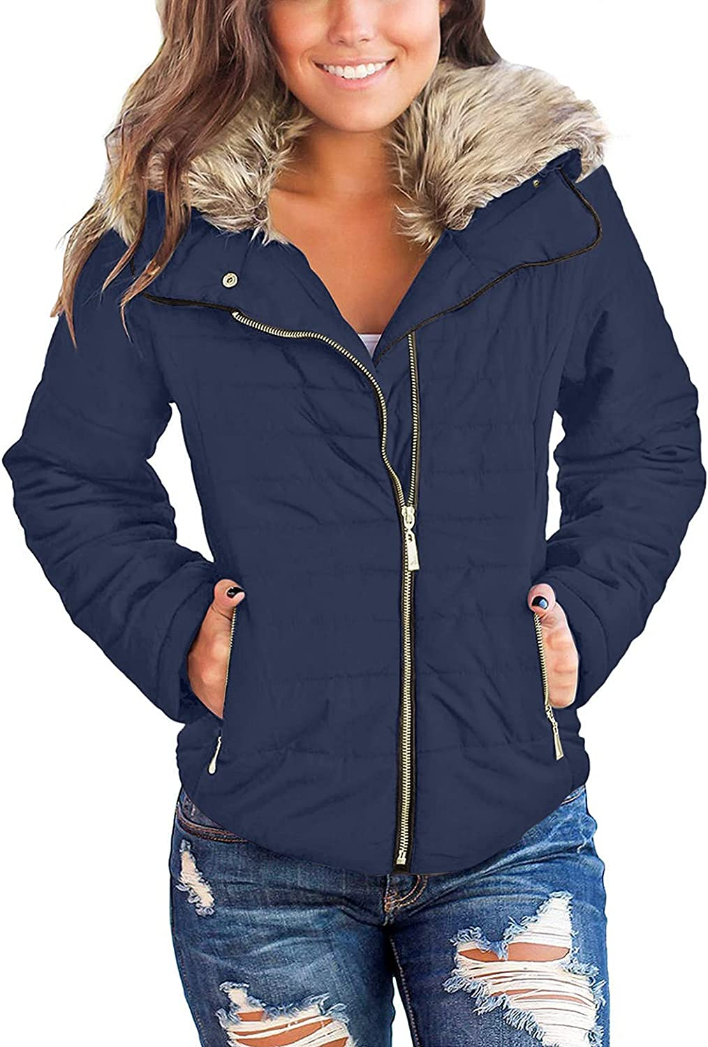 GRAPENT Women's Casual Faux Fur Jacket Zip Pockets Quilted Colorado Springs Mall mart Lapel