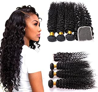 Deep Wave Hair With Closure Lace Front Wet And Wavy 4X4 With Baby Hair And 3 Bundles Brazilian Hair Deep Curly Human Hair Weave Dark Brown Extensions Hair Weft 8A 18 20 22+16 Closure