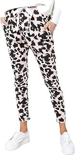 XINHEO Women Leopard Print Tapered-Leg Hip Hop Casual Trousers Pants