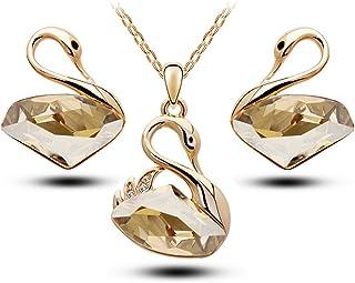 Classic Swan Pendant Crystal Necklace & Earrings Set - Swarovski Elements Jewelry Set