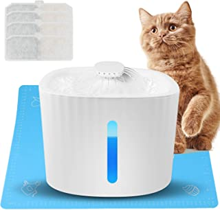 akface Katt vatten fontän för drickande, husdjur hund vattendispenser 3L fontän ultratyst 4 st filter filtrering med vatte...