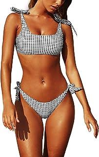 Mujeres Conjunto de Bikini Enrejado Verano Traje de Baño Mujer Push Up Brasileño Bikini Acolchado Sujetador Ropa de Playa Bañadores Deportivas con Relleno