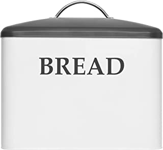 Extra Large Bread Box - Bread Boxes For Kitchen Counter Holds 2+ Loaves For All Your Bread Storage | Bread Container Counter Organizer for Farmhouse Kitchen Decor, Vintage Gray and White Kitchen Decor