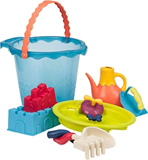 B. Toys – Shore Thing – Large Beach Playset – Large Bucket Set (Sea Blue) with 11 Funky Sand Toys for Kids – Phthalates Free – 18 M+