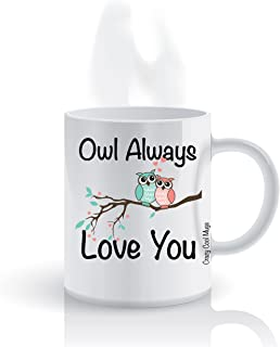 Funny Animal Affection Coffee Mug by Crazy Cool Mugs | Owl Always Love You, 11 Ounce White