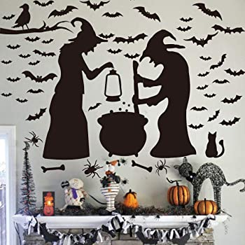 Halloween Wall Stickers Creative Witch and Ghost Removable Wall Decoration