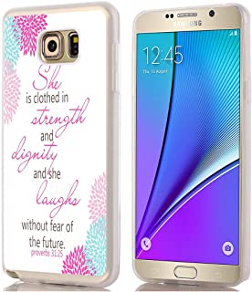 Note 5 Case/Designer TPU Non Slip Rubber Durable Compatible Protective Skin Transparent for Samsung Galaxy Note 5 Bible Verse she is Clothed in Strength and Dignity and she Laughs Proverbs