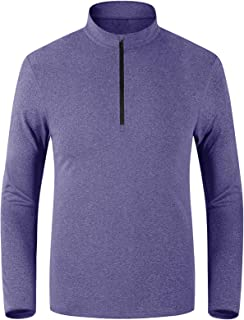 Lacsinmo Men's Quarter Zip Pullover Long Sleeve Shirts Quick Dry Fishing Running Shirts