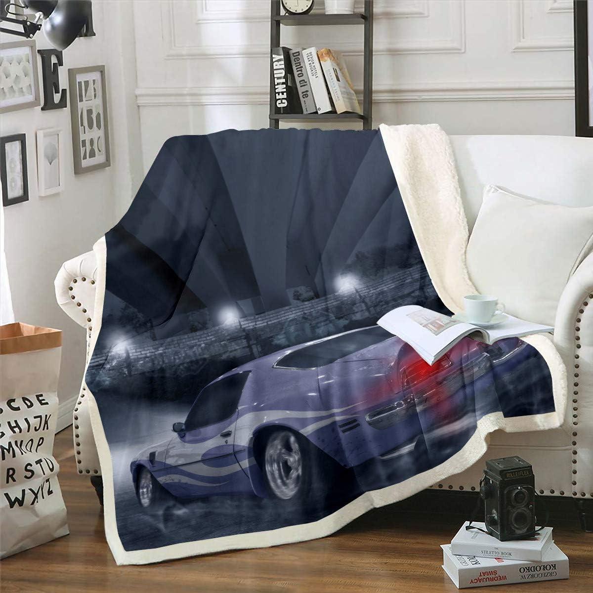 Cool Car Red Sport gift Sherpa Max 71% OFF Fleece Blue Blanket Navy Throw Bla