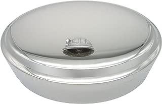 Silver Toned Textured Mining Helmet Oval Trinket Jewelry Box