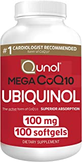 Qunol Mega Ubiquinol Coq10 100mg, Superior Absorption, Patented Water and Fat Soluble Natural Supplement Form of Coenzyme ...