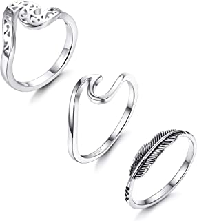 3PCS 925 Sterling Silver Wave Rings for Women Girls Fashion Leaf Feather Ring infinity Band Rings Ocean Wave Thumb Rings, 5-10