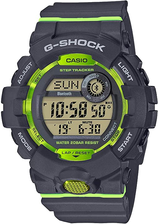 Orologio g-shock casio, steptracker/pedometro, sensore di movimento, 20 bar, analogico - digitale, uomo GBD-800-8ER