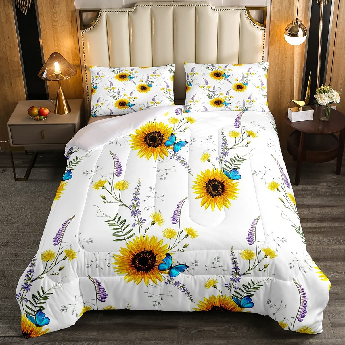 Sunflower Comforter Set Twin Size Quantity limited Super sale fo Bedding Butterfly Blue