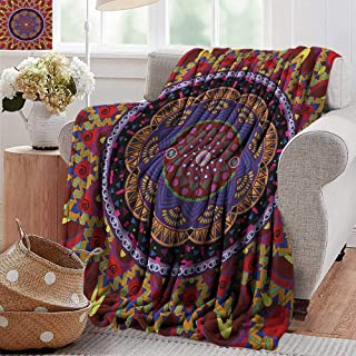 Ultra Soft Flannel Blanket,Mandala,Vintage Style Wedding Invitation Card with Mandala Motif Flower Illustration, Maroon and Red,Lightweight Microfiber,All Season for Couch or Bed 30