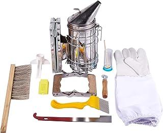 TOOGOO 1 Set 10 in 1 Metal Beekeeping Supplies Tool Kit Beekeeping Bee Hive Smoker Kit Beekeeping Equipment Tools Apicultu...