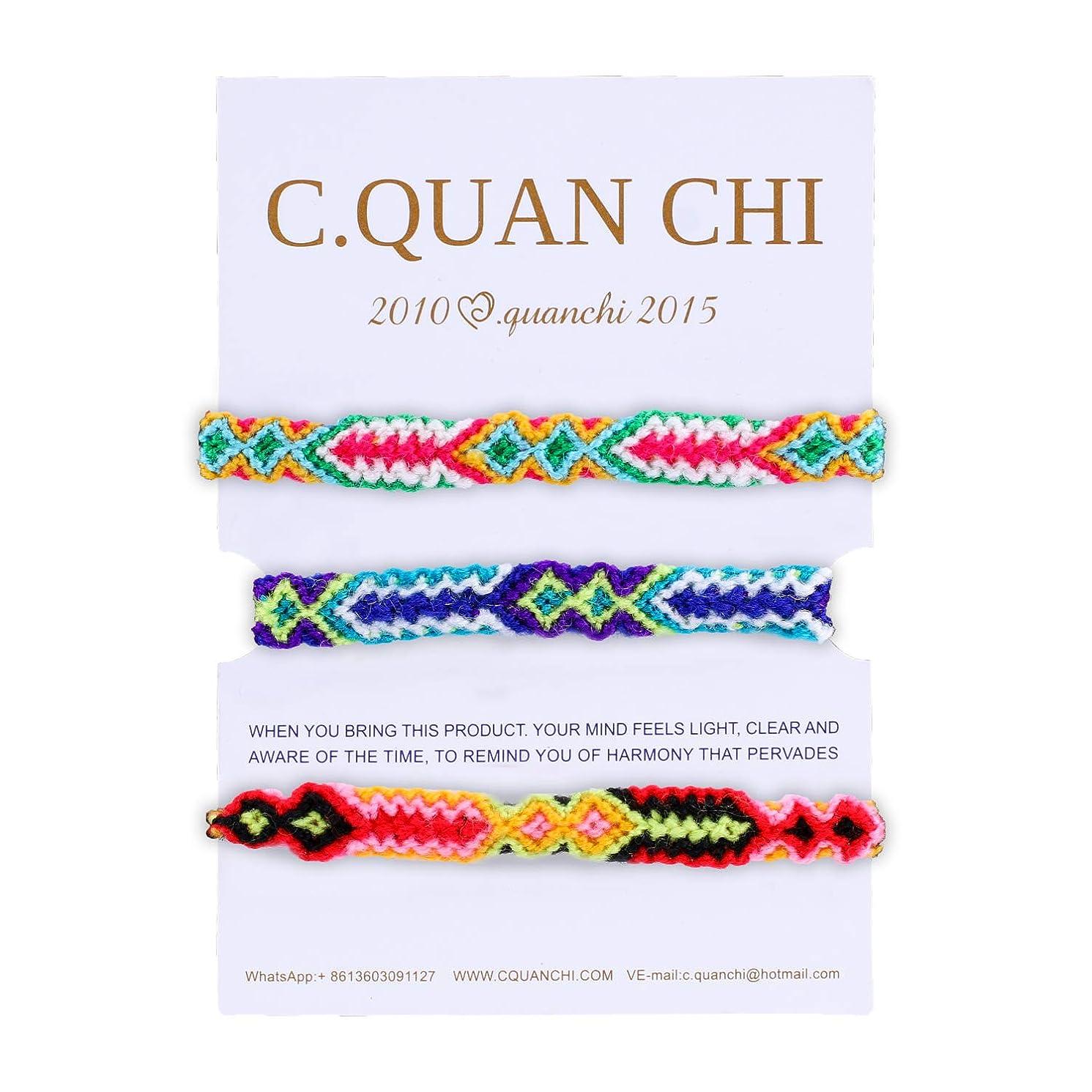C·QUAN CHI 3 Pieces Woven Bracelets Handmade Strand Bracelets Multi Color Braided Bracelet for Wrist Ankle