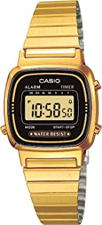 Casio LA670WEGA-1EF Ladies Black Dial Gold Plated Digital Watch